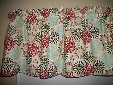 Dark Gray Red Blue Polka Dot Flower Circle fabric window topper curtain Valance
