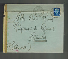 1943 Vione Italy censored cover to red cross Switzerland
