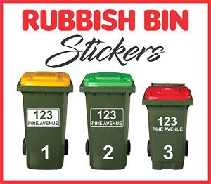 3 x Rubbish Bin Sticker Decal Wheelie Bin Garbage Bin House Number Street Name