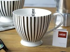 LA CAFETIERE Large Fine China Footed BLACK STRIPE MUG