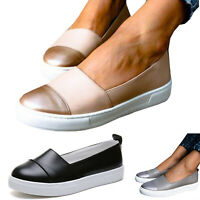 Womens Platform Trainers Ballerina Sports Slip On Sneakers Shoes Casual Loafers