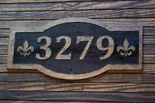 Custom Carved Address Sign Fleur De Lis Large Antique Brass Finished Wood Plaque