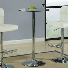 Coaster 120341 Glass Round Bar Table With Chrome Base
