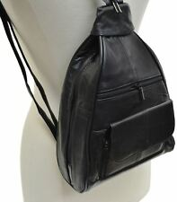 Black Women's Leather Zippered Backpack Style Ladies Fashion Purse