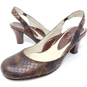 Taryn Rose Women's Slingback Heels Brown Leather Snake Studded Sandals Sz 8.5