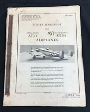 Original 1946 Us Army At-11 Us Navy Snb-1 Pilots Flight Handbook