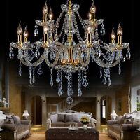 Elegant Crystal Glass Chandelier Pendant Ceiling Lighting Fixture 6-12 Light USA