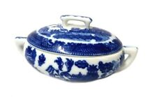 Blue Willow Mini Porcelain Oval Covered Vegetable Tureen With Handle New