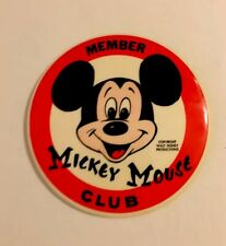 """New listing Vintage Mickey Mouse Club Member 3.5"""" Pin Back Button"""