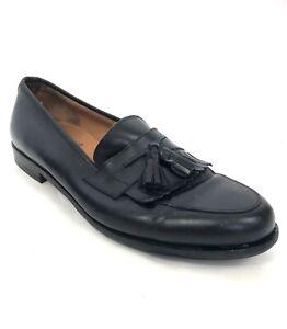 Salvatore Ferragamo Mens Shoes 10.5 D Black Loafer Tassle Wingtip Italy