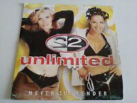 "2 UNLIMITED NEVER SURRENDER MAXI LP VINILO VINYL  12"" 1998 BLANCO Y NEGRO G+/G+"