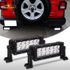 Pair Double Row Rear Bumper LED Light Bars Flood Beam For 2018 Jeep Wrangler JL