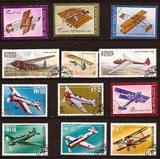:RUSSIE-URSS 12 timbres oblitérés: Avions modernes et anciens  11T6