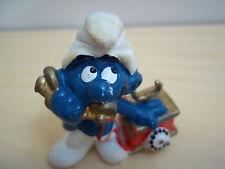 Vintage Schleigh Peyo Rotary Telephone Smurf Figurine - 1980 - Very Good