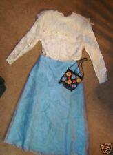 Victorian Edwardian lady 2 pc dress blue skirt ivory top emb bag 8