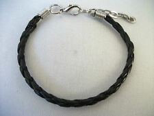 A Faux Leather Black Plaited Bracelet for Charm & Beads Wristband Tribal Surfer.