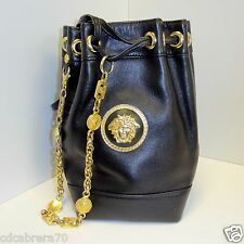 GsIANNI VERSACE COUTURE black leather drawstring shoulder bag w/ chain Bondage