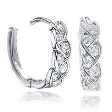 Yellow Gold / Platinum Filled Infinity Huggie Created Diamond Hoop Earrings