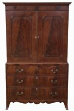 Antique top quality Georgian C1800 mahogany linen press wardrobe