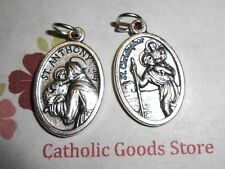 St Anthony with St Christopher on back - Oxidized Die Cast Italian 1 inch Medal
