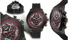 NEW Force One 1485M-BKRD Men's Valken Chrono GMT Red Accent Black Silicone Watch