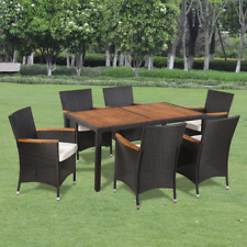 NEW 7 Piece Outdoor Dining Set with Cushions Poly Rattan