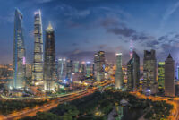 Panoramic View of the lujiazui in Shanghai Photo Art Print Poster 18x12 inch