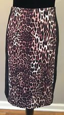 Cynthia Rowley Womens Straight Pencil Skirt Size Large Black Animal Print Career