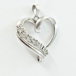 Sterling Silver Diamond Heart Pendant Signed RL
