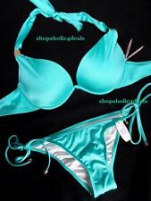 VICTORIA'S SECRET Bikini Hottie Add-1-Cup~Skimpy String~Teal~34B/S NWT $89 SEXY