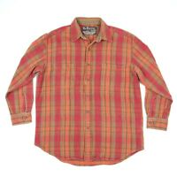 Vtg Rustic Outfitter Heavyweight Flannel Shirt Orange Plaid Mountain Twill M