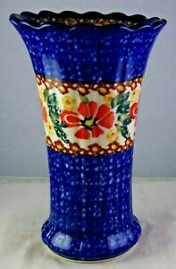Unikat Polish Pottery Multicolored Blue Flower Vase - Minty