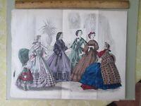 Vintage Print,FEBRUARY,Godeys,Fashion,1862