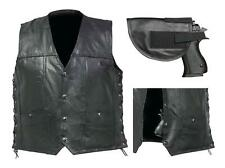 Mens Black Buffalo Conceal Carry Weapon CCW Biker Motorcycle Carry Vest Jacket