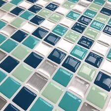 Self Adhesive Mosaic Tile Blue Mix 3D Sticker Wallpaper Waterproof  Backsplash