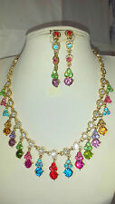 Mixed colour Diamante crystal Necklace & earrings set party prom new