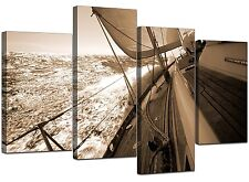 Large Brown Canvas Wall Art Pictures Yachts Sea 130cm Prints set 4106