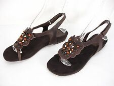 NEW ANTIA CLARISSA LEATHER BEADS TOE LOOP T-STRAP OPEN TOE SANDALS WOMEN'S 39.5
