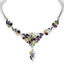 Collier, Peridot/Amethyst/Rhodolit/Blautopas/Citrin/Granat, 925 Sterling Silber