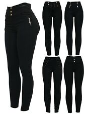 Womens Black Stretchy Zip Detail Biker Style Skinny Fit Jeggings Legging Pants