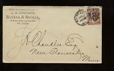 US Advertising Cover (Banker & Broker) 1885 St Louis, Missouri to New Gloucester