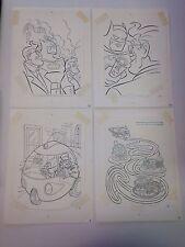 4 Batman Coloring Book Original Art Pages