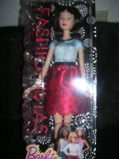 Barbie Fashionistas Black Hair Doll blue/red short sleeve dress