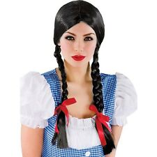 Adult Women Wizard of Oz Wig Dorothy Wig Black Plaited Country Braid Pigtails
