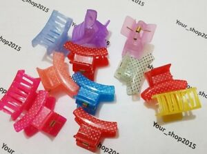 12 Assorted Dotted Clips Claws Clamps Wedding Party Hair Accessories Mixed colou