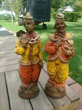 "Set Of 2 Vintage Large 24"" Ceramic Pagliacci Opera Circus Clown Statue"
