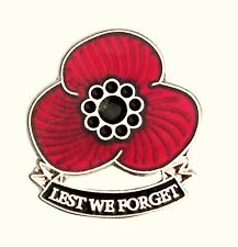 """THREE PETAL POPPY LAPEL BADGE - """"LEST WE FORGET"""" - Remembrance Day, Pin, Brooch"""