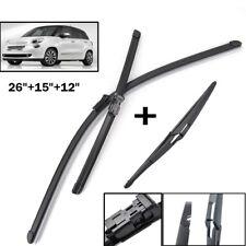 """3PCS/Set Front Rear Windshield Wiper Blades Fit For Fiat 500L 2012-17 26""""15""""12"""""""