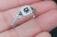 New Sz 7 10K Black & White Diamond 3 Stone Halo Engagement Ring White Gold