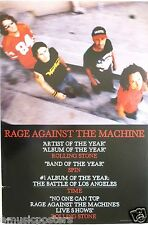 "RAGE AGAINST THE MACHINE ""BATTLE OF LA-ARTIST & ALBUM OF YEAR"" U.S. PROMO POSTER"
